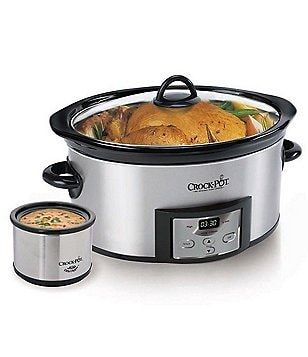 Crock Pot Stainless Steel 6-Quart Slow Cooker with Little Dipper Warmer
