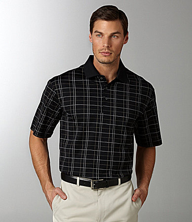 Daniel Cremieux Signature Windowpane Jacquard-Knit Triple-Mercerized Polo Shirt