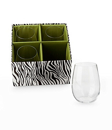 Traditions Set of 4 Stemless Wine Glasses in a  Zebra Print Storage Gift Box