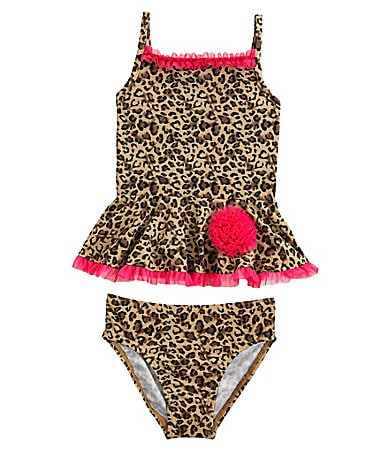 Flapdoodles 2T-6X Leopard Princess Tankini Swimsuit Set