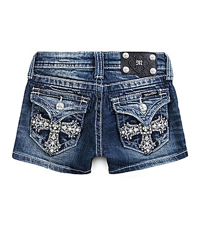 Miss Me Girls 7-16 Cross Back-Flap Pocket Shorts