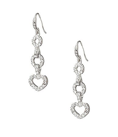 Carolee Pave Heart Drop Earrings