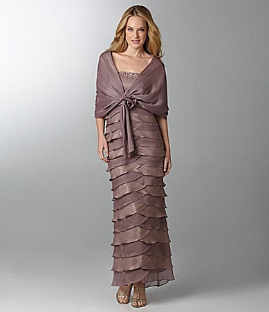 Alex Evenings Woman Beaded Tiered Gown