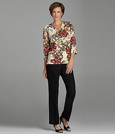 Samantha Grey Printed Knit Top & Faux-Suede Pants