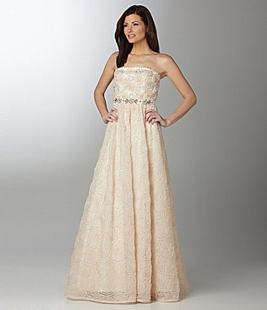 Adrianna Papell Strapless Rosette Gown