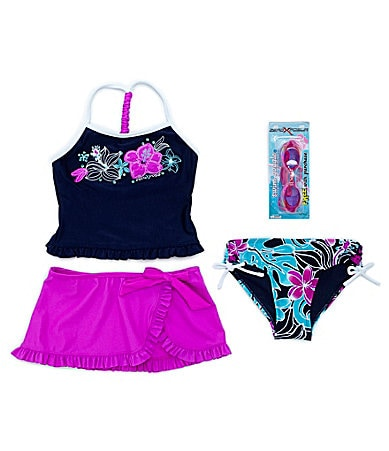 Zero Xposure 7-16 2-Piece Tankini Swimsuit, Skirt & Goggles Set