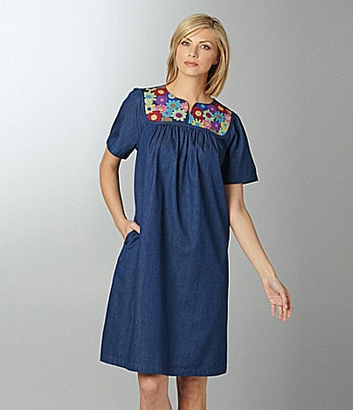 Go Softly Patio Denim Floral Patio Dress