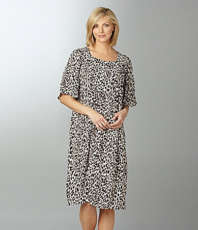 Go Softly Patio Petites Cheetah Print Patio Dress