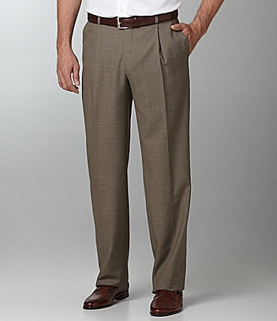 Hart Schaffner Marx Checked Pleated Dress Pants