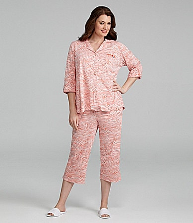 AK Anne Klein Woman 3/4 Sleeve Cropped Pajamas