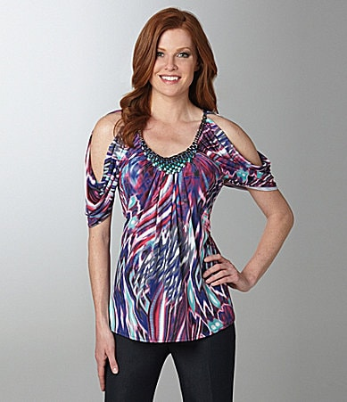 Linda Segal Metal Ribbon Trim Print Top