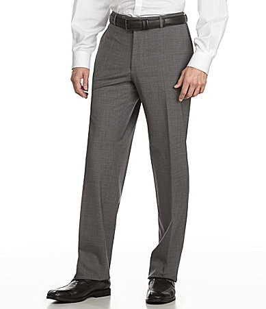 BOSS Hugo Boss Tailored Flat Front Wool Dress Pants