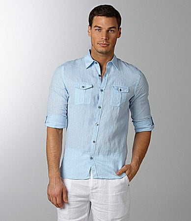 Murano Solid Fitted Linen Shirt