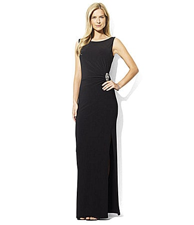 Lauren by Ralph Lauren Side-Brooch Gown