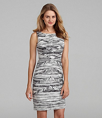 Adrianna Papell Striped Sheath Dress