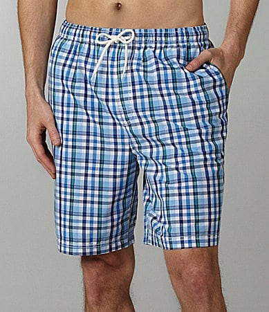 Roundtree & Yorke Preppy Plaid Swim Trunks
