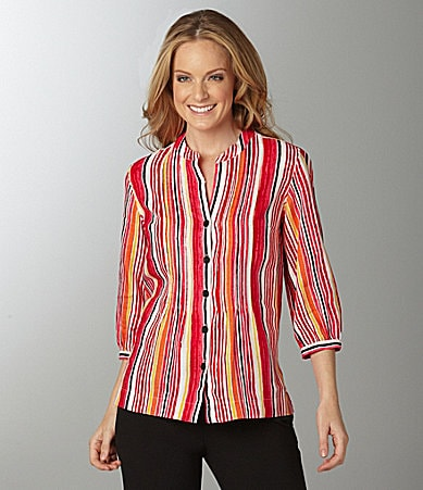 Jones New York Sport Stripe Linen Blouse
