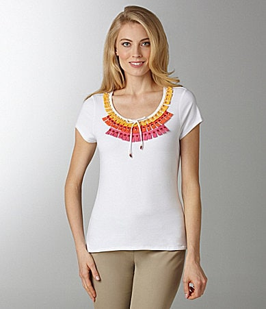 Ruby Rd. Embellished Jersey Top