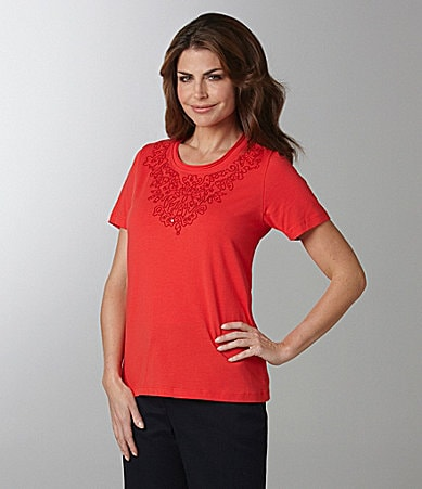 Samantha Grey Soutache Embroidered Knit Top
