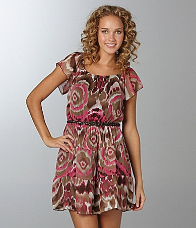 Sequin Hearts Ikat-Print Tiered Dress