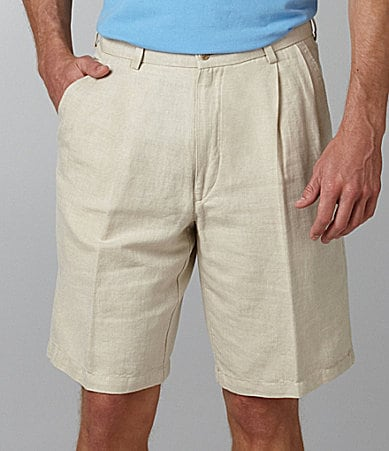 Caribbean Solid Double-Pleated Shorts