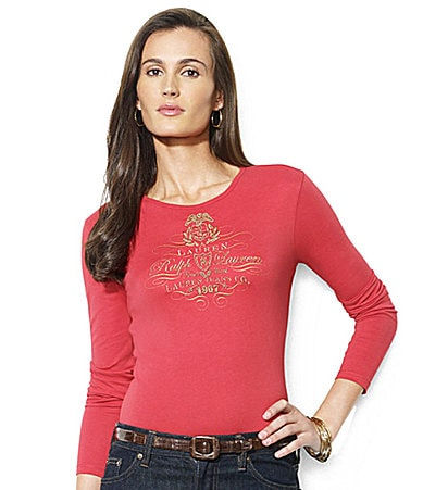 Lauren by Ralph Lauren Petites Otho Long-Sleeved Beaded Tee