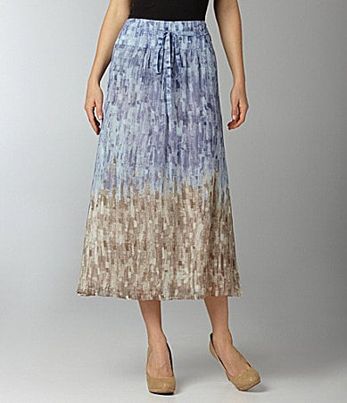 ZoZo Woman Blues Brushstroke-Print Long Skirt