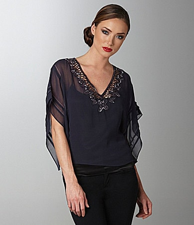 Sugar Lips Embellished Drape Sleeve Blouse