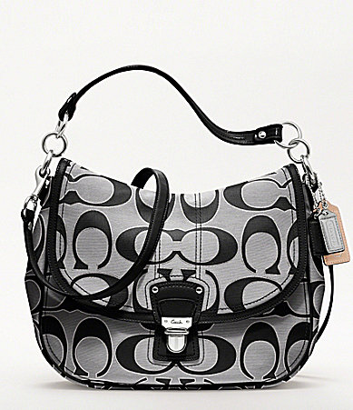 COACH POPPY METALLIC SIGNATURE SATEEN HOBO