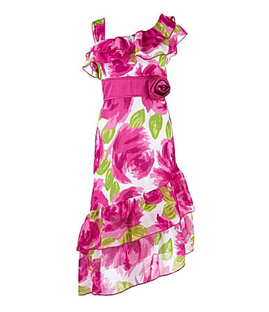 My Michelle 7-16 Floral Print One-Shoulder Dress