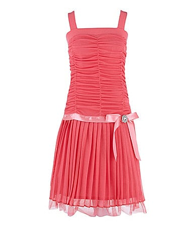 I.N. Girl 7-16 Shirred Drop-Waist Dress