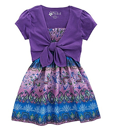 Forever Orchid 7-16 Paisley Smocked Top & Shrug