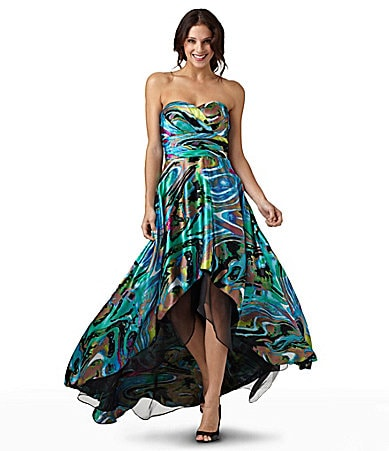Hailey by Adrianna Papell Strapless Printed Gown