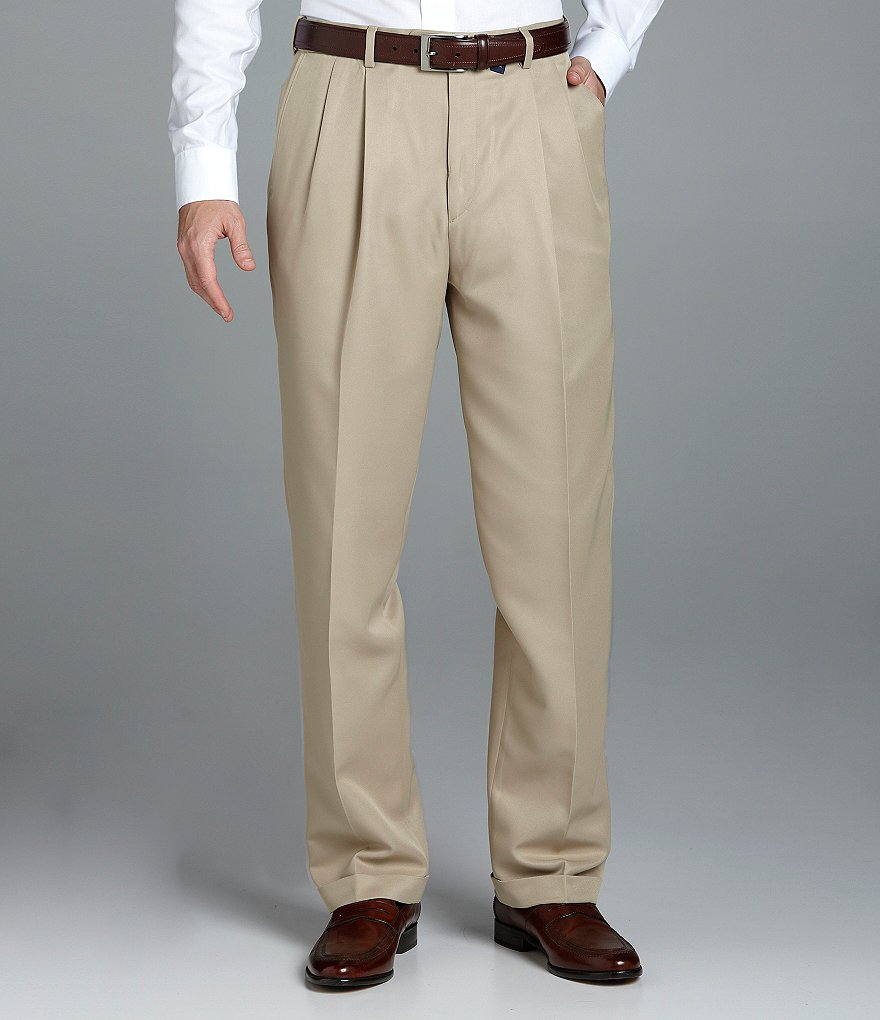 Roundtree & Yorke Big & Tall Microfiber Easy-Care Pleated Expander Dress Pants
