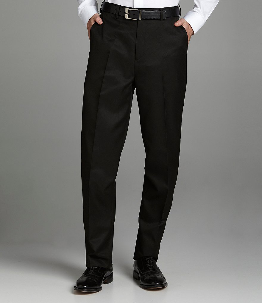 Roundtree & Yorke Big & Tall Microfiber Easy-Care Flat Front Expander Dress Pants