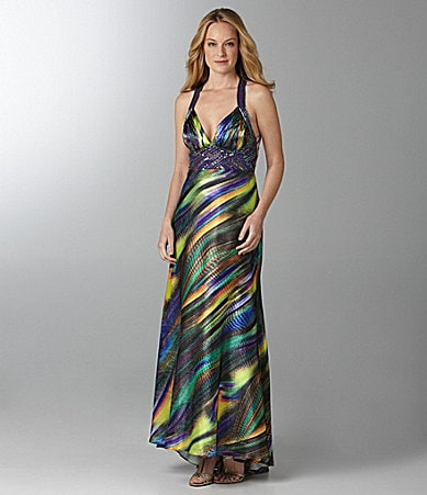 Ignite Evenings Charmeuse Beaded Gown
