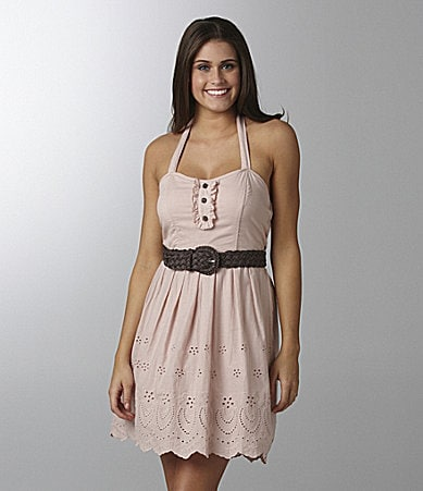Jodi Kristopher Belted Halter Dress