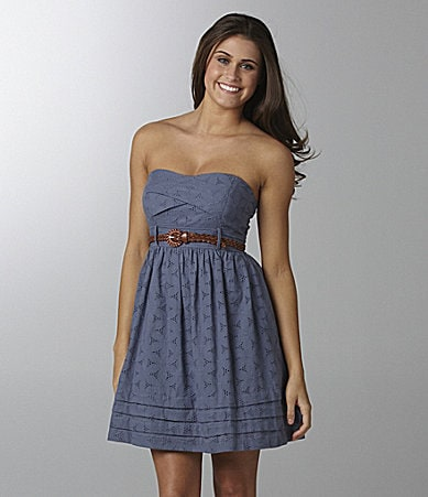 Jodi Kristopher Strapless Eyelet Dress