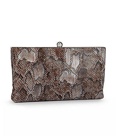 Kate Landry Anaconda Frame Clutch