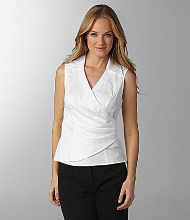 Jones New York Signature Sleeveless Faux-Wrap Top