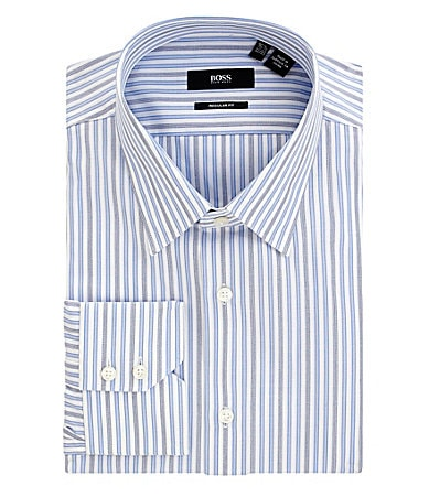 Hugo Boss Non-Iron Stripe Spread-Collar Dress Shirt