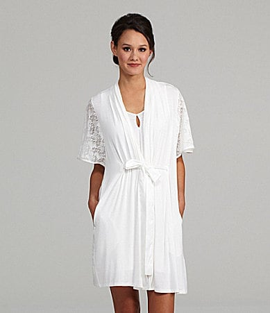Midnight by Carole Hochman Lace Embrace Wrap Robe