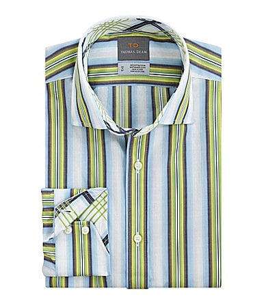 Thomas Dean Diamond Jacquard Striped Sportshirt