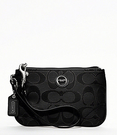 COACH POPPY SIGNATURE SATEEN METALLIC SMALL WRISTLET