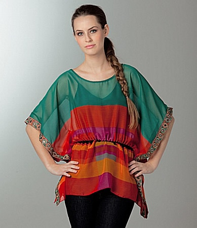 Awake Stripe Colorblock Caftan Top