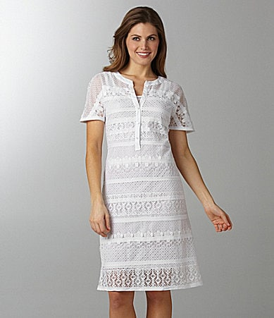 Sharon Young Short-Sleeve Lace Dress