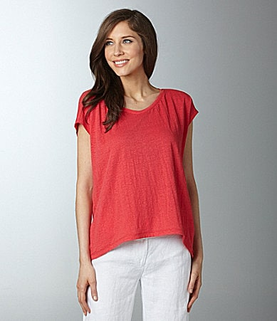 Eileen Fisher Linen Hi-Low Box Top