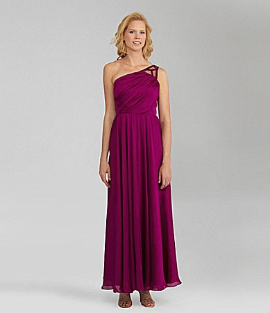 Angel Sanchez One-Shoulder Gown