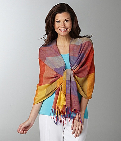 Peter Nygard Ikat Stripe Fringed Shawl