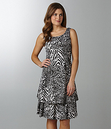 Peter Nygard Woman Steel Jungle Tiered Dress
